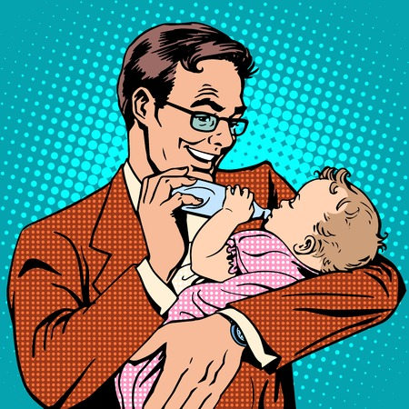 daddy: Happy father feeding newborn baby with milk pop art retro style. The family and the child. The birth of a son or daughter