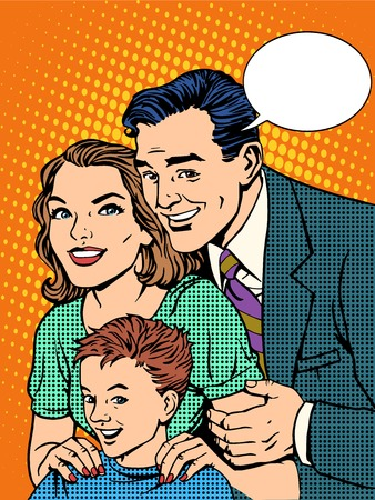 Happy family dad mom and son pop art retro style Illustration