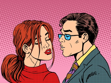 art contemporary: man woman kiss love romance couple pop art retro style Illustration