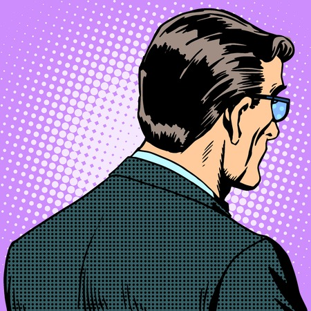 listener: Man businessman back pop art retro style Illustration