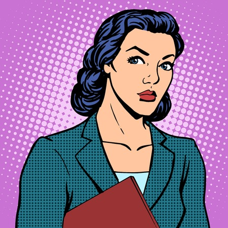 Businesswoman successful woman pop art retro style Illusztráció