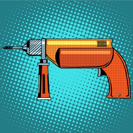 power tools: Hammer drill power tools pop art retro style