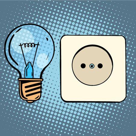 light bulb: Electricity light bulb and socket pop art retro style Illustration