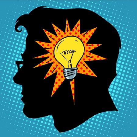 idea bulb: Business concept idea light bulb head pop art retro style Illustration