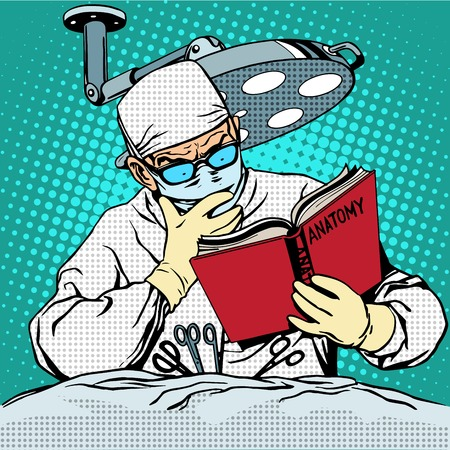 kunst: Der Chirurg vor der Operation liest Anatomie. Medizin und Gesundheit Pop-Art Retro-Stil