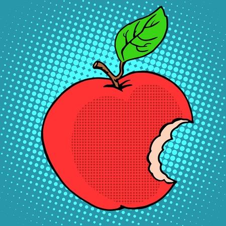 adam and eve: Bitten red Apple pop art retro style Illustration