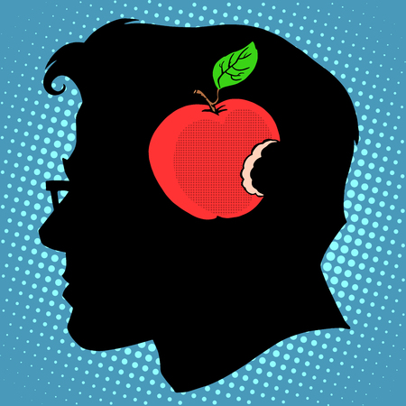 knowledge business: Bitten Apple in mind a business concept knowledge pop art retro style