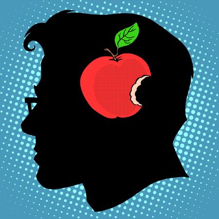 cartoon man: Bitten Apple in mind a business concept knowledge pop art retro style