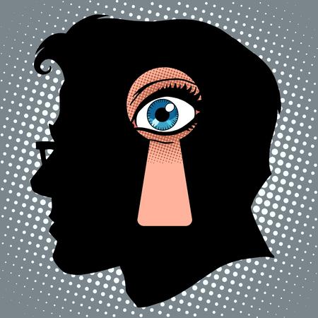 Secret thoughts of espionage pop art retro style