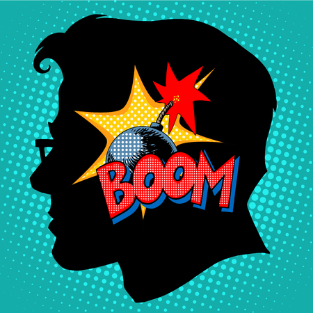 vector bomb: Creativity bomb in my head pop art retro style. Business concept the thought process of science and education