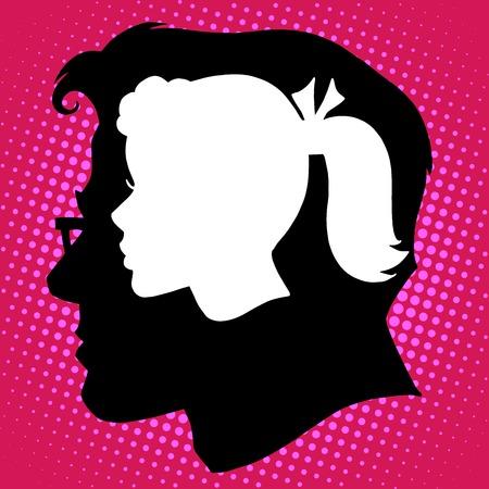 arte moderno: Amor pensamientos rom�nticos estilo retro pop art hombre mujer pareja Vectores