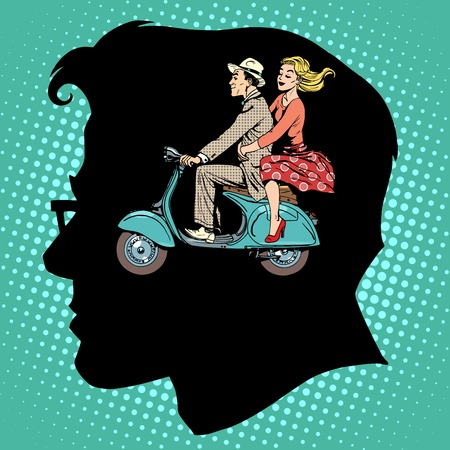 jealousy: Jealousy love male female pop art retro style Illustration