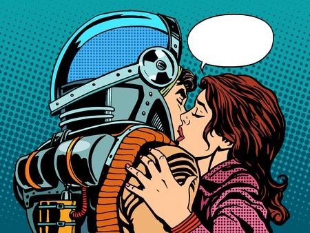 baiser amoureux: �toile embrasser la femme d'un r�tro style d'art astronaute pop