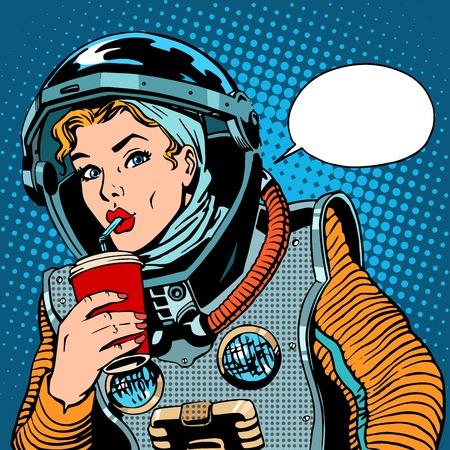 Mujer estilo astronauta beber refresco del arte pop retro Vectores
