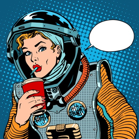 Female astronaut drinking soda pop art retro style Stock Illustratie