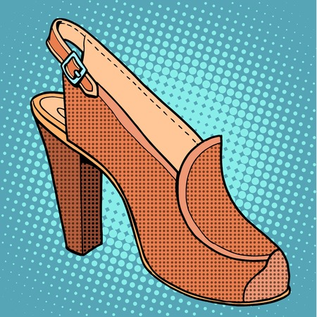 suede: Retro shoes womens pop art style. Clothing and goods. The high-heeled shoes