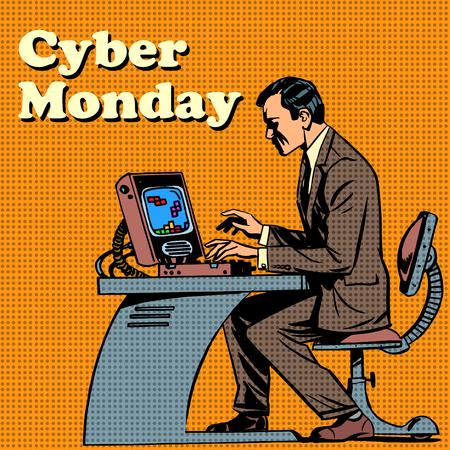 comico: Cibern�tico equipo el lunes y el estilo del arte pop retro humana Vectores