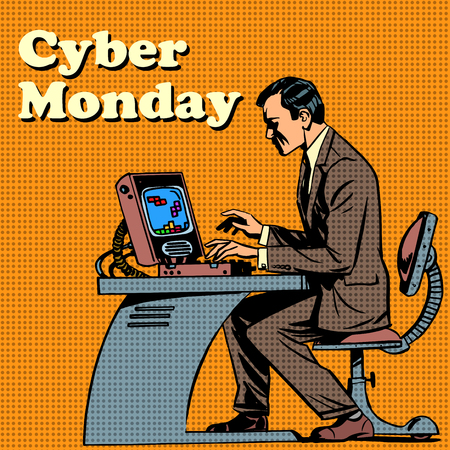 Cyber Monday computer and human pop art retro style