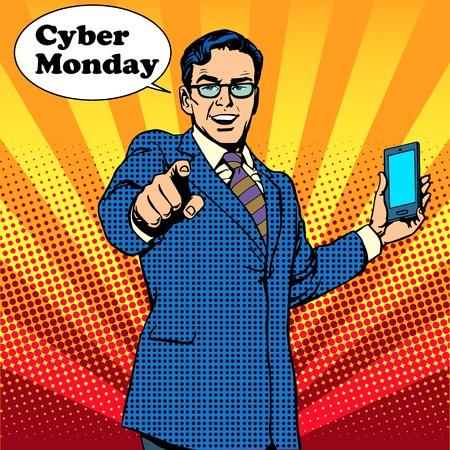 Cyber Monday de verkoper wordt aangemoedigd om elektronica pop art retro stijl te kopen