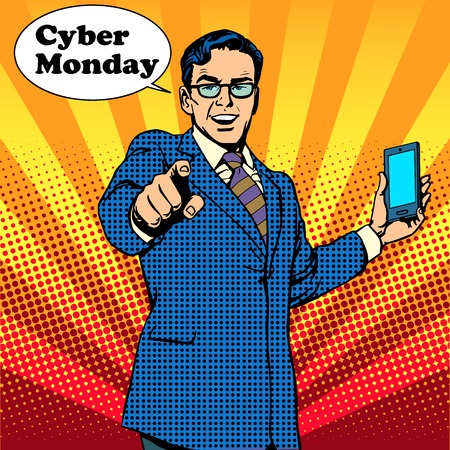 Cyber Monday the seller is encouraged to buy electronics pop art retro style Ilustracja