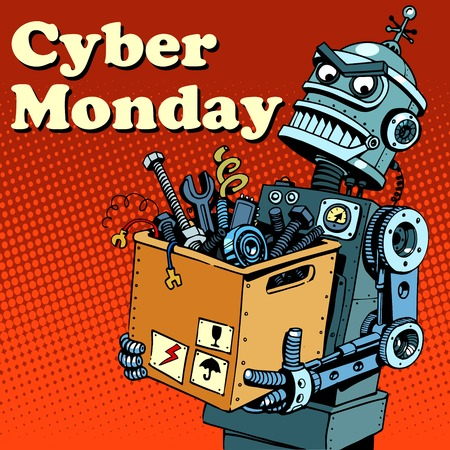 junkyard: Robot Cyber Monday gadgets and electronics pop art retro style Illustration