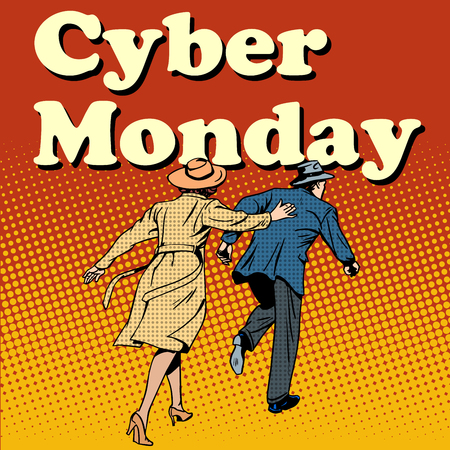 cyber girl: Cyber Monday shoppers run on sale pop art retro style Illustration