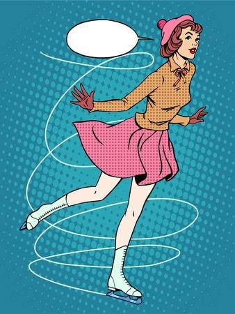 tanzen cartoon: Frau Eiskunstläufer retro Sport-Pop-Art-Stil. Wintersport. Die kalten Schlittschuhen