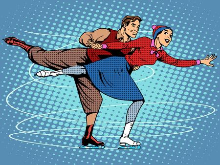 patín: Figura pareja de patinadores de hielo estilo retro del arte pop dance