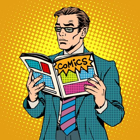 historietas: hombre lee el estilo del arte pop retro libro de historietas. negocios adulto con gafas abrió las ilustraciones de revistas. Un hombre se encuentra. El concepto de la lectura y la tienda de cómics