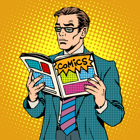 reading magazine: man reads comic book pop art retro style. Adult businessman with glasses opened the magazine illustrations. A man stands. The concept of reading and the comic book store