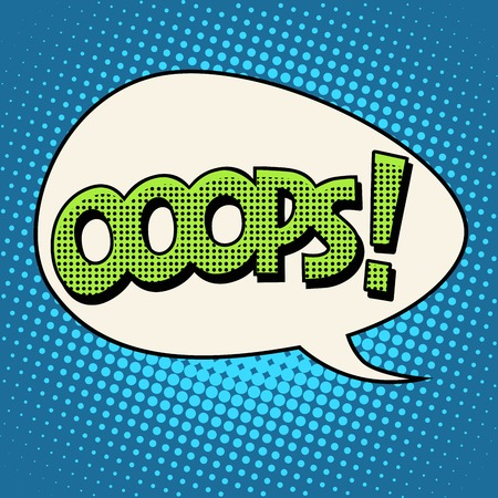 oops comic text bubble pop art retro style