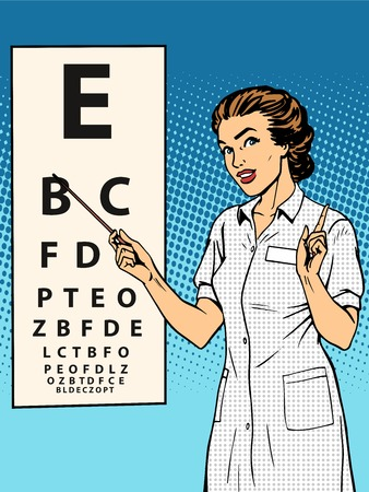 letter art: Woman ophthalmologist table verification of view pop art retro style. Medicine and eye health