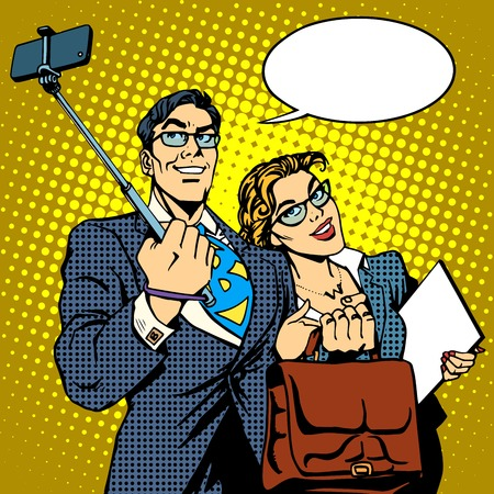 friend: Selfie stick businessman and businesswoman photo smartphone pop art retro style. Couple man and woman friendly photo