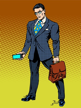 Stern businessman with a smartphone. Untied the laces on the Shoe. Super hero business concept Illustration