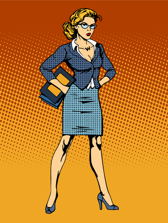 business idea: businesswoman superhero woman vamp pop art retro style. A womans beauty at work