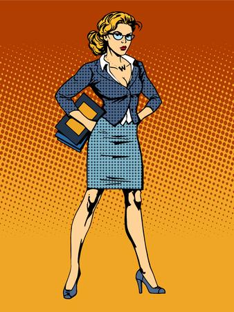 mulher: Mulher super-herói vamp estilo do pop art retro empresária. A beleza da mulher no trabalho Ilustração