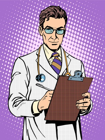 Doctor physician with stethoscope pop art retro style. Medicine and health of patients Vectores