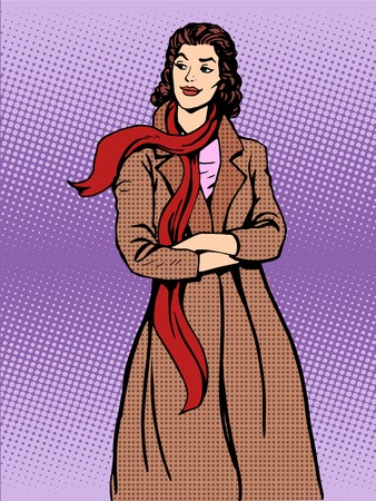 winter fashion: Beautiful woman coats winter autumn pop art retro style. Fashion and apparel Illustration