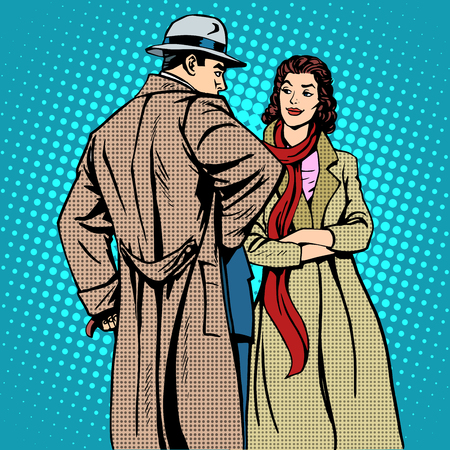 winter girl: Couple man and woman autumn winter clothes pop art retro style