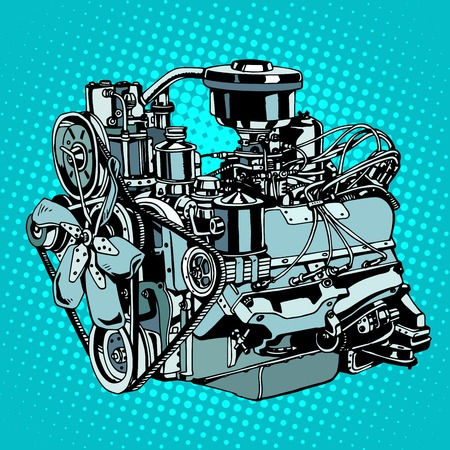 art style: Retro engine motor pop art style. Diesel mechanism metal for machine