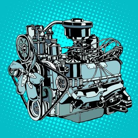 Retro engine motor pop art style. Diesel mechanism metal for machine