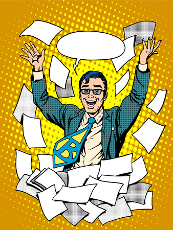 emotions: Business success happy businessman among the papers. Emotions after a successful contract at work
