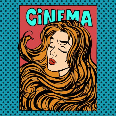 romance: Movie poster woman actress heroine cinema pop art retro style. Beauty romance love