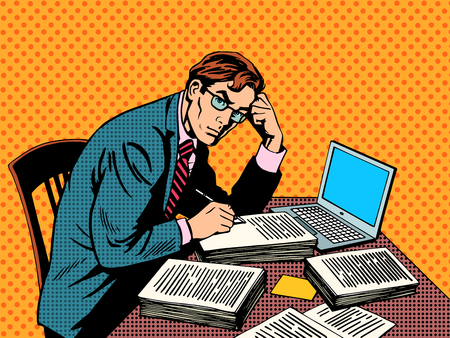 Writer editor journalist academic thesis paper laptop pop art retro style. A stack of documents. Office work