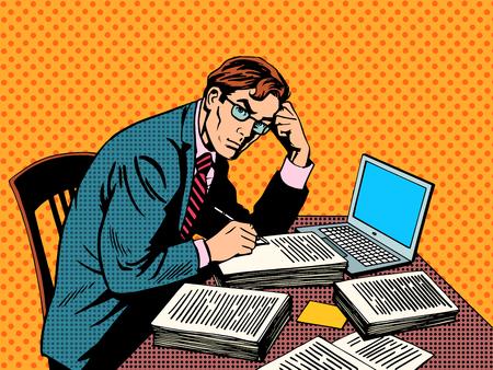 coiffer: Writer éditeur journaliste académique papier de thèse ordinateur portable pop art style rétro. Une pile de documents. Bureau de travail