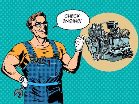 Fun mechanic check engine repair car pop art retro style Illustration