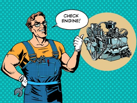 Fun mechanic check engine repair car pop art retro style Illustration