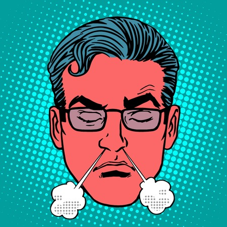 Retro Emoji anger rage emotions male face pop art style. The steam of her anger