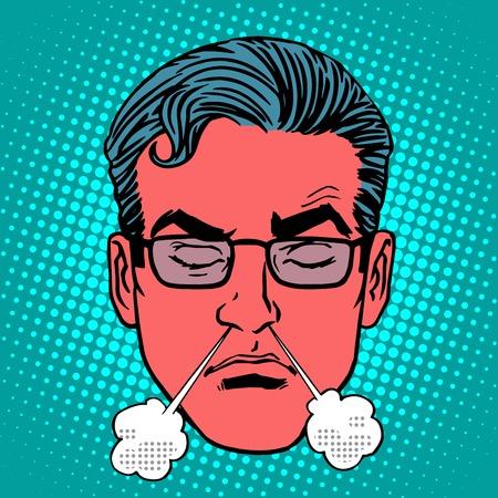 enojo: Emoji Retro emociones ira rabia estilo masculino del arte pop de la cara. El vapor de su ira