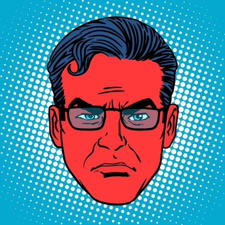 devil man: Retro devil Emoji emotion face man pop art retro style. Evil red head Illustration